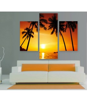 Multi-canvas 3x Palm sunset