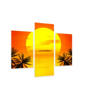 Multi-canvas 3x Red sunset palm