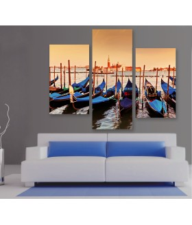 Multi-canvas 3x Venice Gondolas