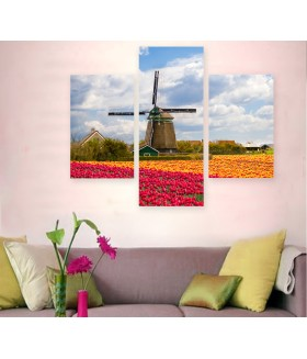 Multi-canvas 3x Windmill tulip field