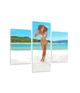 Multi-canvas 3x Woman on the beach