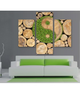 Multi-canvas 3x Ying yang wood