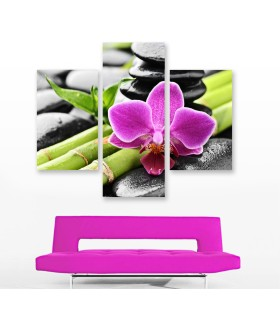 Multi-canvas 3x Zen stones orchid
