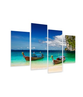 Multi-canvas 4x Boats beach