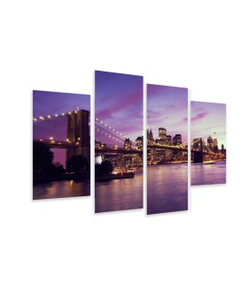 Multi-canvas 4x Brooklyn Bridge sunset