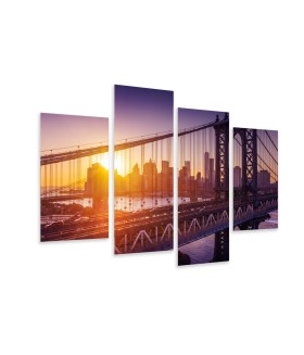 Multi-canvas 4x New York sunset