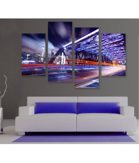 Multi-canvas 4x Night traffic