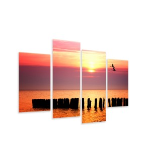 Multi-canvas 4x Ocean sunset