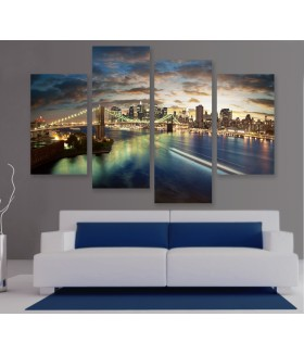 Multi-canvas 4x Panoramic Manhattan