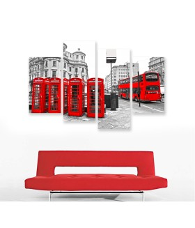Multi-canvas 4x Red London