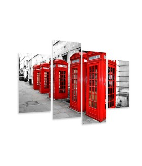Multi-canvas 4x Red phonebooths
