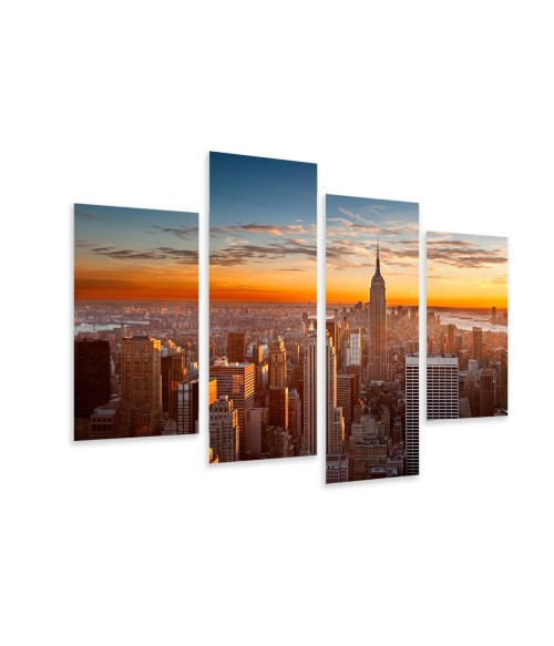Multi-canvas 4x Sunset Manhattan