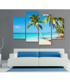 Multi-canvas 4x Tropical beach