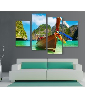 Multi-canvas 4x Tropical boat
