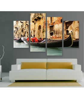 Multi-canvas 4x Venice boat