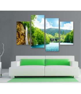 Multi-canvas 4x Waterfall forest