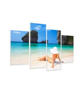 Multi-canvas 4x Woman on the beach